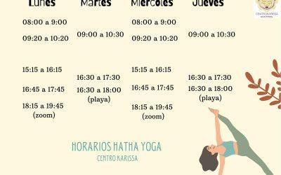 Horarios clases de yoga actualizados